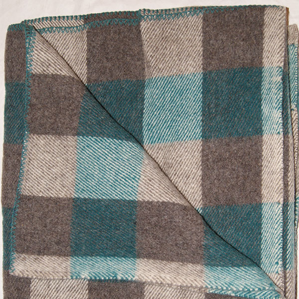 Brookridge Farm: Wool Blanket Teal and Grey Check