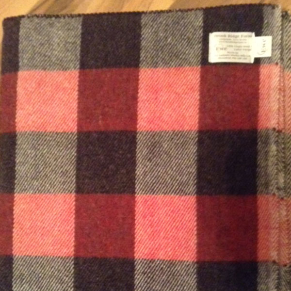 Red and black checkerboard throw